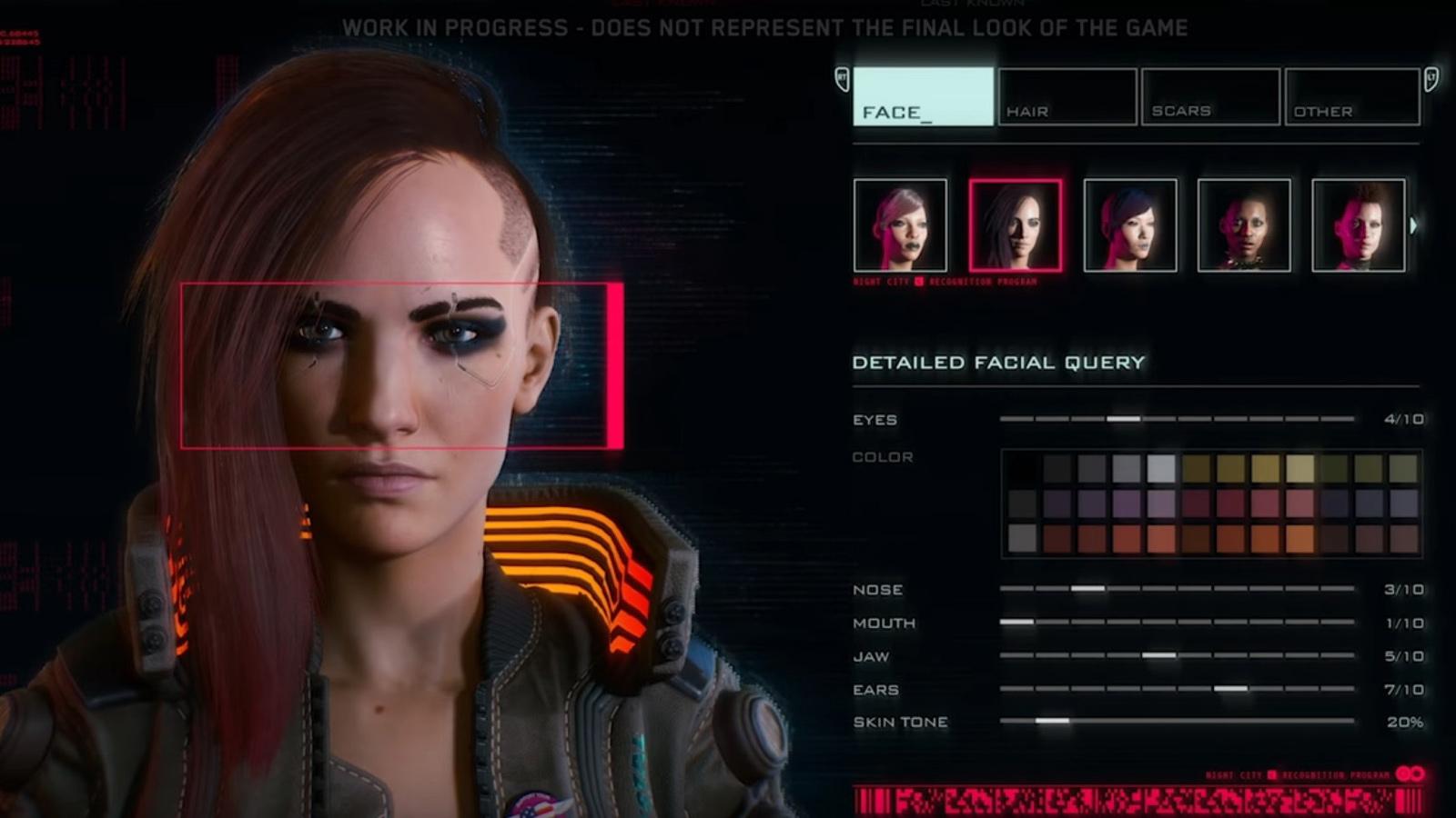 Настройка персонажа в Cyberpunk 2077