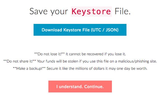 Скачайте файл ключей