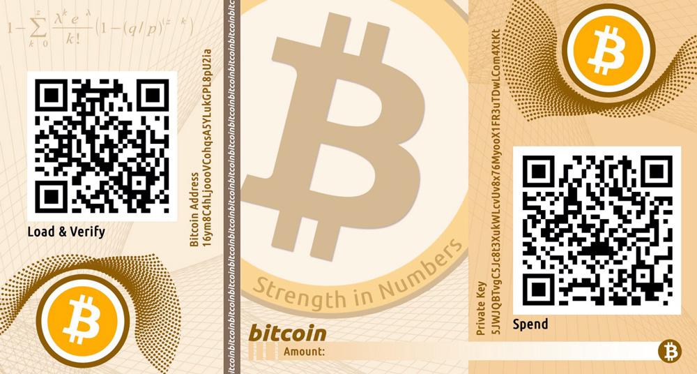 Биткоин кошельки. Пример бумажного Bitcoin кошелька.